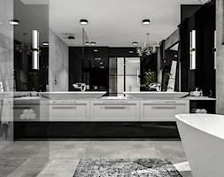 Salon kąpielowy - Duża biała czarna szara łazienka jako salon kąpielowy z oknem, styl nowoczesny - zdjęcie od Piwońska&Serwa