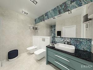 Apartament Żoliborz - Średnia beżowa niebieska łazienka bez okna, styl nowojorski - zdjęcie od Piwońska&Serwa