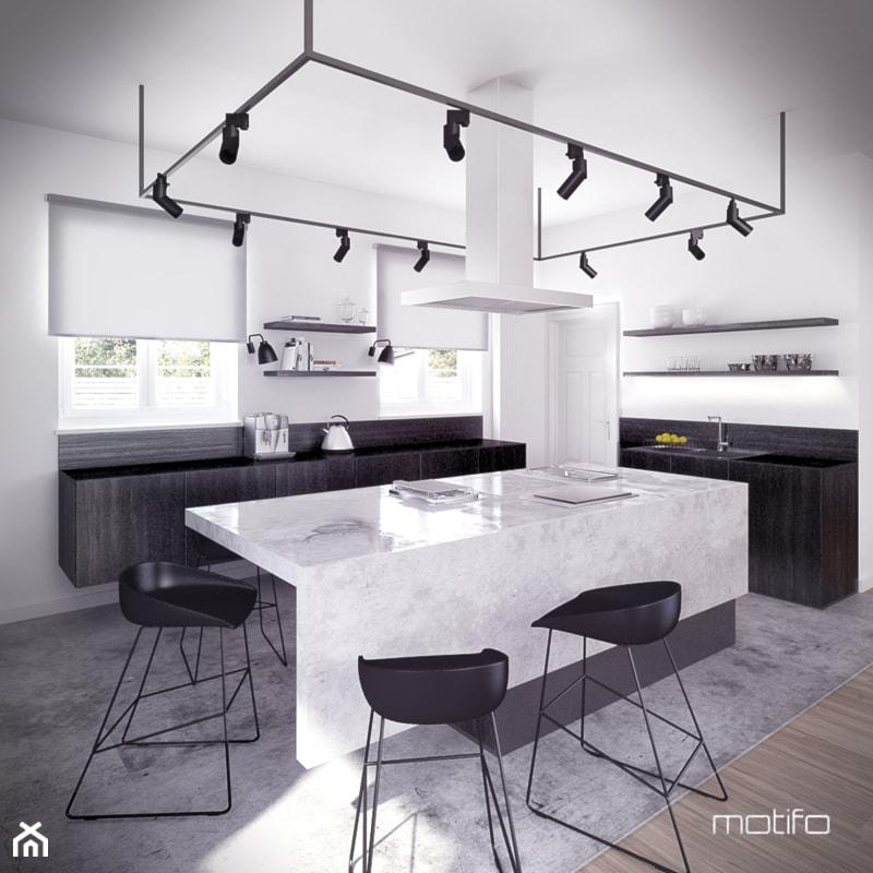 Czarno Biała Kuchnia - Kuchnia, styl minimalistyczny - zdjęcie od Motifo Architektura & Wnętrza - Homebook