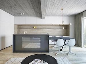 Nowa Huta_Mieszkanie Prywatne - Duża otwarta biała kuchnia jednorzędowa w aneksie z wyspą z oknem, styl minimalistyczny - zdjęcie od Motifo Architektura & Wnętrza