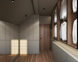 Janowskiego - Duża zamknięta garderoba na poddaszu, styl minimalistyczny - zdjęcie od Motifo Architektura & Wnętrza