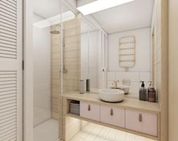 Mieszkanie Białystok 2 - Średnia beżowa łazienka na poddaszu w bloku w domu jednorodzinnym bez okna, ... - zdjęcie od Biuro projektowe Joanna Karwowska - Homebook