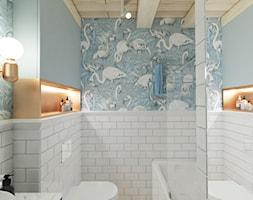 Mieszkanie z antresolą Białystok - Mała szara łazienka w bloku w domu jednorodzinnym bez okna, styl ... - zdjęcie od Biuro projektowe Joanna Karwowska - Homebook