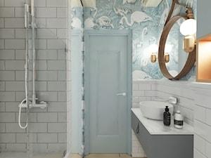Mieszkanie z antresolą Białystok - Mała łazienka w bloku w domu jednorodzinnym bez okna, styl eklektyczny - zdjęcie od Biuro projektowe Joanna Karwowska