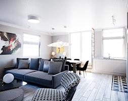 Mieszkanie Białystok 3 - Średni biały beżowy salon z kuchnią z jadalnią, styl vintage - zdjęcie od Biuro projektowe Joanna Karwowska - Homebook
