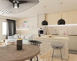Mieszkanie Białystok 2 - Średnia otwarta szara kuchnia jednorzędowa w aneksie z wyspą z oknem, styl ... - zdjęcie od Biuro projektowe Joanna Karwowska - Homebook