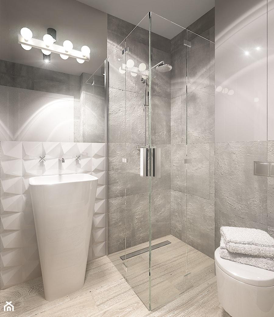 Dom jednorodzinny Suwałki - Mała biała łazienka w domu jednorodzinnym, styl minimalistyczny - zdjęcie od Biuro projektowe Joanna Karwowska