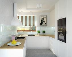 Dom jednorodzinny - Mała otwarta wąska biała kuchnia w kształcie litery u, styl skandynawski - zdjęcie od Biuro projektowe Joanna Karwowska