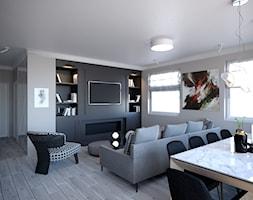 Mieszkanie Białystok 3 - Średni szary beżowy salon z jadalnią, styl vintage - zdjęcie od Biuro projektowe Joanna Karwowska - Homebook