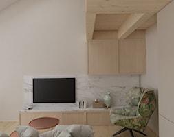 Mieszkanie z antresolą Białystok - Mały beżowy salon, styl nowoczesny - zdjęcie od Biuro projektowe Joanna Karwowska - Homebook