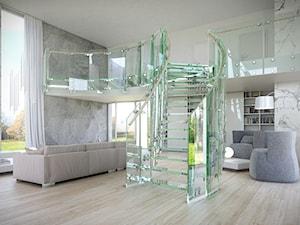Schody szklane i całoszklane - Średnie szerokie schody jednobiegowe szklane, styl nowoczesny - zdjęcie od Tierspol producent schodów szklanych i całoszklanych