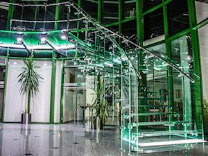 Schody szklane i całoszklane - Średnie wąskie schody jednobiegowe wachlarzowe szklane, styl nowoczesny - zdjęcie od Tierspol producent schodów szklanych i całoszklanych