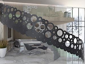 Schody ażurowe ze wstęgami  ze stali malowanej i stopniami ze szkła hartowanego