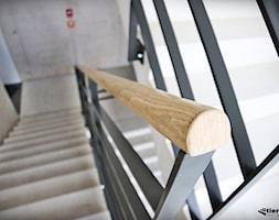Balustrady z drewnianym pochwytem na klatce schodowej - zdjęcie od Tierspol producent schodów szklanych i całoszklanych - Homebook