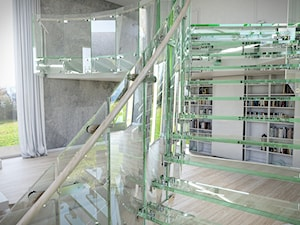 Schody szklane i całoszklane - Duże wąskie schody jednobiegowe wachlarzowe szklane, styl nowoczesny - zdjęcie od Tierspol producent schodów szklanych i całoszklanych