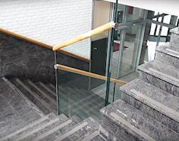 Balustrady szklane z drewnianym pochwytem - zdjęcie od Tierspol producent schodów szklanych i całoszklanych - Homebook