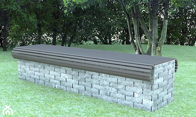 ławka ogrodowa z cegły łupanej w kolorze szarym