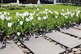 ścieżka w ogrodzie z płytek betonowych