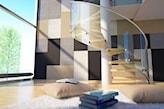 ściana w salonie z betonu architektonicznego