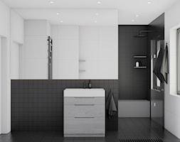 Eleganckie wnętrze - Mała biała czarna łazienka na poddaszu w bloku w domu jednorodzinnym z oknem, ... - zdjęcie od NUKO STUDIO - Homebook