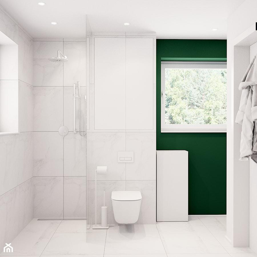Pomysłowe wnętrze szeregówki - Mała biała zielona łazienka na poddaszu w bloku w domu jednorodzinnym z oknem, styl minimalistyczny - zdjęcie od NUKO STUDIO