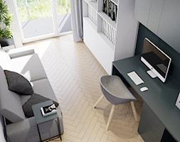 Pomysłowe wnętrze szeregówki - Średnie niebieskie białe biuro domowe kącik do pracy w pokoju, styl minimalistyczny - zdjęcie od NUKO STUDIO
