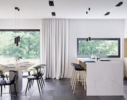 Eleganckie wnętrze - Średnia otwarta biała jadalnia w kuchni, styl nowoczesny - zdjęcie od NUKO STUDIO - Homebook