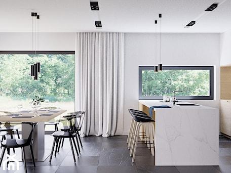 Aranżacje wnętrz - Jadalnia: Eleganckie wnętrze - Średnia otwarta biała jadalnia w kuchni, styl nowoczesny - NUKO STUDIO. Przeglądaj, dodawaj i zapisuj najlepsze zdjęcia, pomysły i inspiracje designerskie. W bazie mamy już prawie milion fotografii!