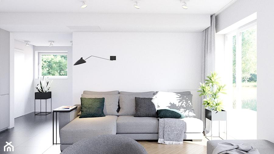 Pomysłowe wnętrze szeregówki - Mały biały salon, styl minimalistyczny - zdjęcie od NUKO STUDIO