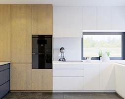 Przytulne wnętrze - Duża otwarta biała kuchnia w kształcie litery u w aneksie z oknem, styl nowocze ... - zdjęcie od NUKO STUDIO - Homebook