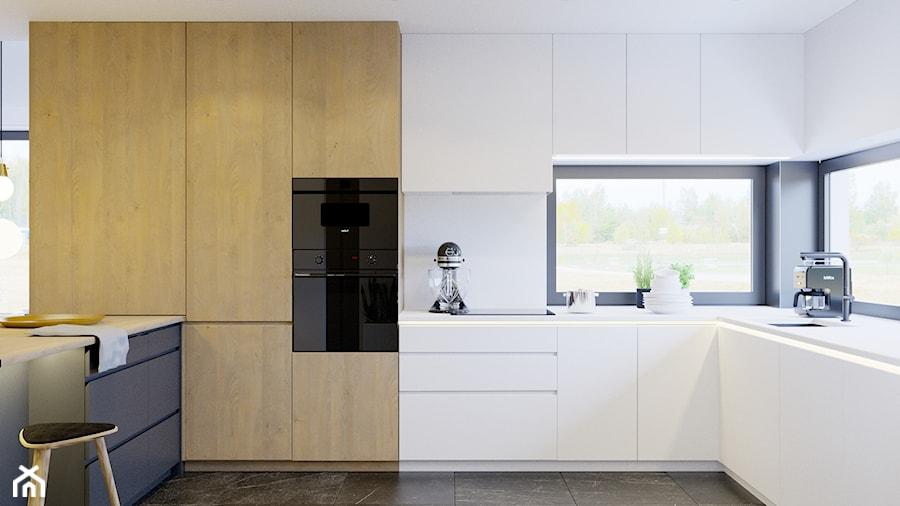 Przytulne wnętrze - Duża otwarta biała kuchnia w kształcie litery u w aneksie z oknem, styl nowocze ... - zdjęcie od NUKO STUDIO