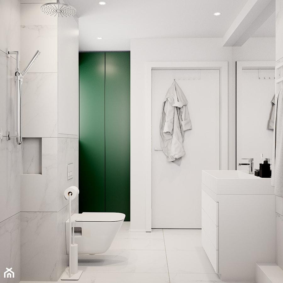 Pomysłowe wnętrze szeregówki - Średnia biała łazienka na poddaszu w bloku w domu jednorodzinnym bez okna, styl minimalistyczny - zdjęcie od NUKO STUDIO