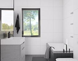 Eleganckie wnętrze - Mała biała szara łazienka na poddaszu w bloku w domu jednorodzinnym z oknem, s ... - zdjęcie od NUKO STUDIO - Homebook