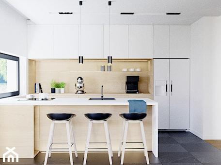 Aranżacje wnętrz - Kuchnia: Eleganckie wnętrze - Średnia otwarta biała kuchnia dwurzędowa w aneksie z oknem, styl nowoczesny - NUKO STUDIO. Przeglądaj, dodawaj i zapisuj najlepsze zdjęcia, pomysły i inspiracje designerskie. W bazie mamy już prawie milion fotografii!