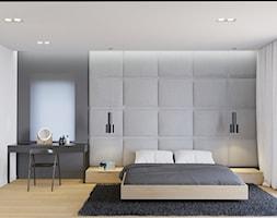 Eleganckie wnętrze - Duża biała szara sypialnia małżeńska, styl nowoczesny - zdjęcie od NUKO STUDIO - Homebook