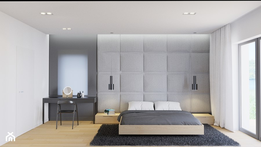 Eleganckie wnętrze - Duża biała szara sypialnia małżeńska, styl nowoczesny - zdjęcie od NUKO STUDIO