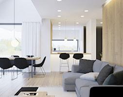 Przytulne wnętrze - Duża biała beżowa jadalnia w salonie, styl nowoczesny - zdjęcie od NUKO STUDIO - Homebook