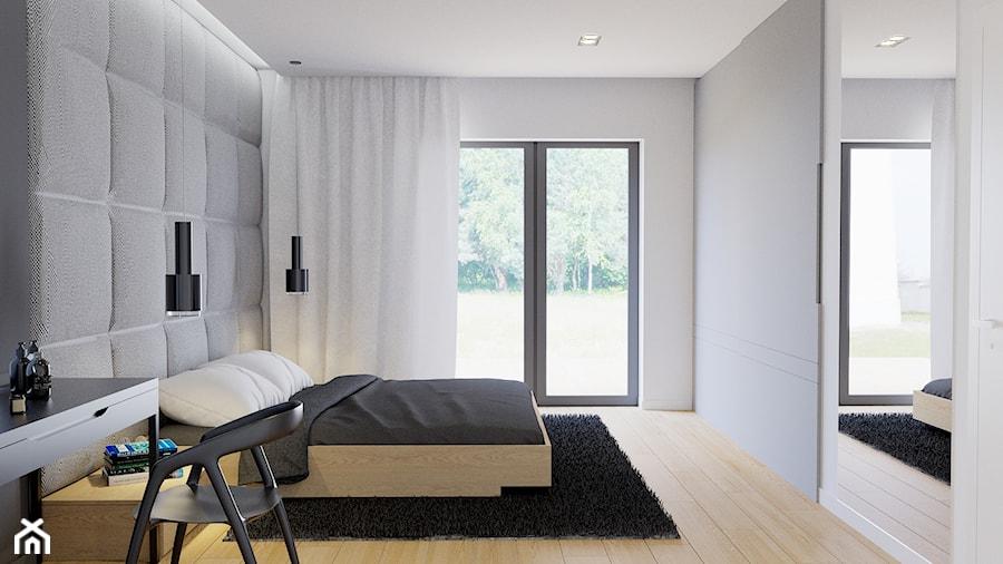 Eleganckie wnętrze - Średnia biała szara sypialnia małżeńska, styl nowoczesny - zdjęcie od NUKO STUDIO