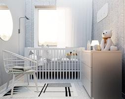 Mieszkanie w bieli Rzeszów - Mały biały szary pokój dziecka dla chłopca dla dziewczynki dla niemowlaka, styl nowoczesny - zdjęcie od NUKO STUDIO