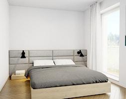 Pomysłowe wnętrze szeregówki - Średnia biała sypialnia małżeńska z balkonem / tarasem, styl minimal ... - zdjęcie od NUKO STUDIO - Homebook