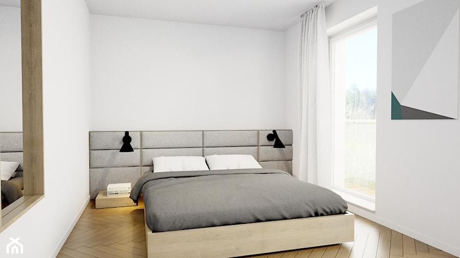 Pomysłowe wnętrze szeregówki - Średnia biała sypialnia małżeńska z balkonem / tarasem, styl minimal ... - zdjęcie od NUKO STUDIO