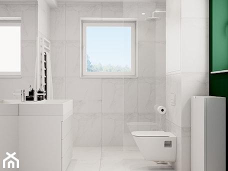 Aranżacje wnętrz - Łazienka: Pomysłowe wnętrze szeregówki - Mała biała łazienka na poddaszu w bloku w domu jednorodzinnym z oknem, styl minimalistyczny - NUKO STUDIO. Przeglądaj, dodawaj i zapisuj najlepsze zdjęcia, pomysły i inspiracje designerskie. W bazie mamy już prawie milion fotografii!