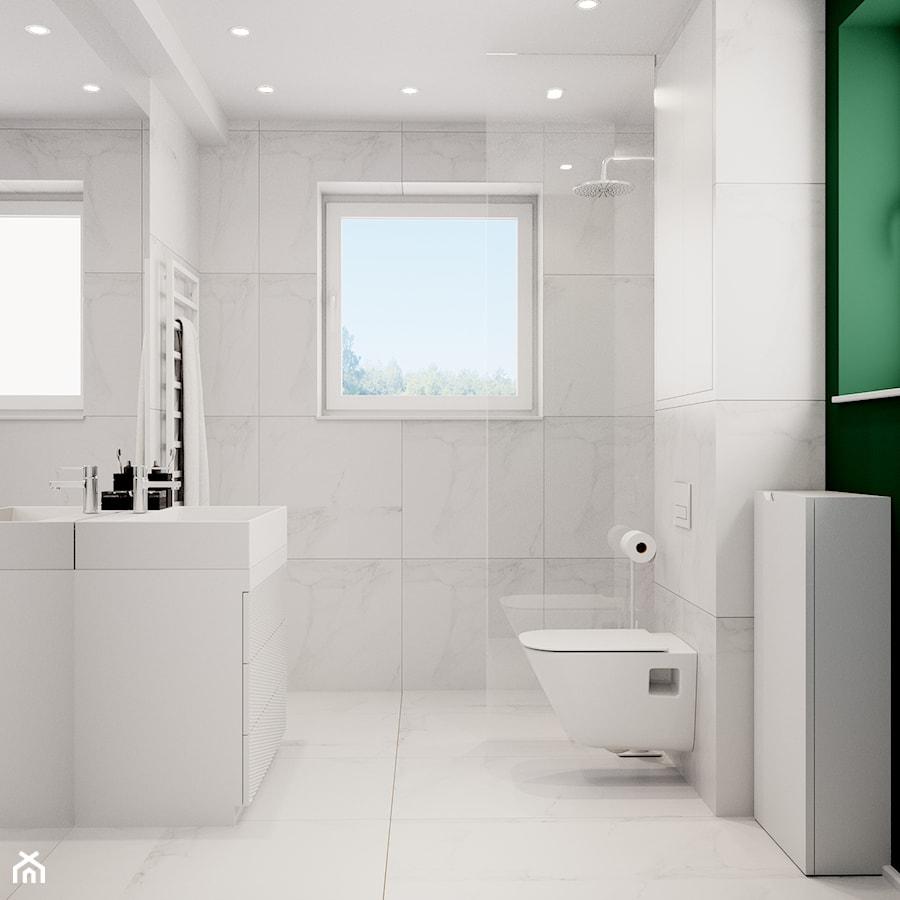 Pomysłowe wnętrze szeregówki - Mała biała łazienka na poddaszu w bloku w domu jednorodzinnym z oknem, styl minimalistyczny - zdjęcie od NUKO STUDIO