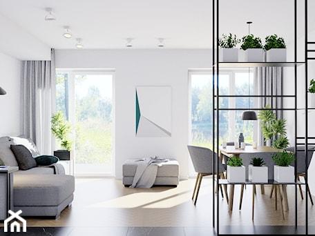 Aranżacje wnętrz - Salon: Pomysłowe wnętrze szeregówki - Mały biały salon z jadalnią, styl minimalistyczny - NUKO STUDIO. Przeglądaj, dodawaj i zapisuj najlepsze zdjęcia, pomysły i inspiracje designerskie. W bazie mamy już prawie milion fotografii!