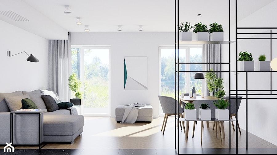 Pomysłowe wnętrze szeregówki - Mały biały salon z jadalnią, styl minimalistyczny - zdjęcie od NUKO STUDIO