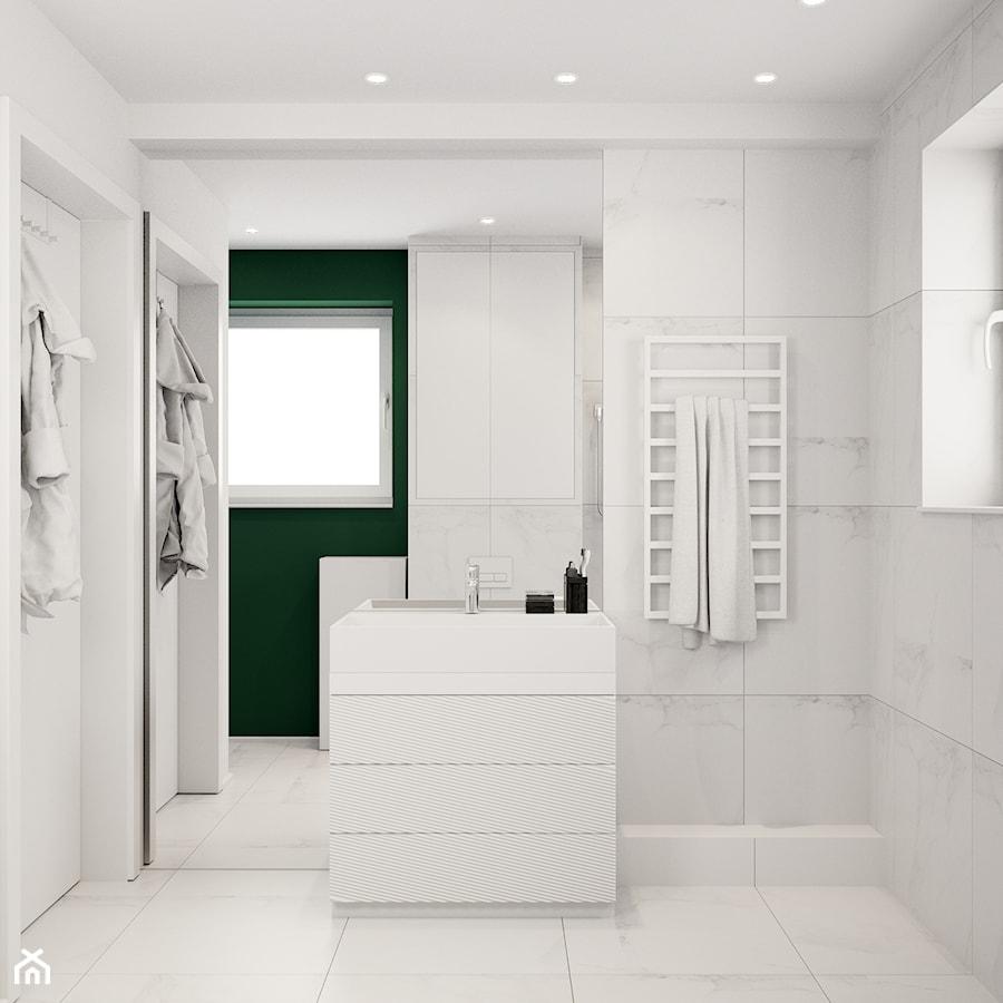 Pomysłowe wnętrze szeregówki - Mała biała łazienka na poddaszu w bloku w domu jednorodzinnym z oknem ... - zdjęcie od NUKO STUDIO