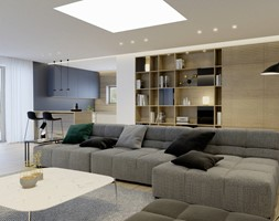 Projekt wnętrza domu w Krakowie - Duży szary niebieski salon z kuchnią z jadalnią, styl nowoczesny - zdjęcie od NUKO STUDIO - Homebook
