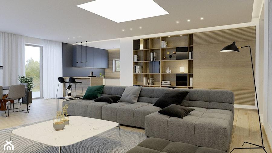 Projekt wnętrza domu w Krakowie - Duży szary niebieski salon z kuchnią z jadalnią, styl nowoczesny - zdjęcie od NUKO STUDIO
