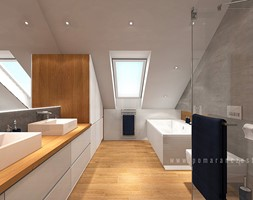 Łazienka na poddaszu - Duża biała szara łazienka na poddaszu w domu jednorodzinnym z oknem, styl minimalistyczny - zdjęcie od Pomarańcze Studio - Homebook