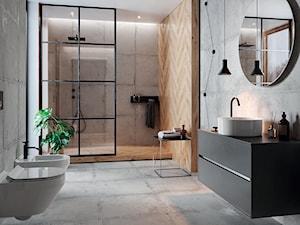 Stormy - Duża szara łazienka w bloku w domu jednorodzinnym z oknem, styl industrialny - zdjęcie od Cersanit